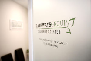 Pathways Group Counseling Center door sign